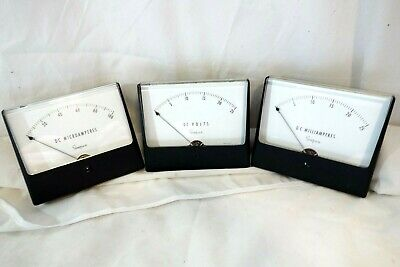Simpson Matching set Panel Mount Analog Meter Milli Microamperes New Mid-century
