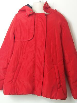 Girls Zara Red & Navy Hooded Slightly Quilted  Coat Jacket Kids Age 11-12 Years