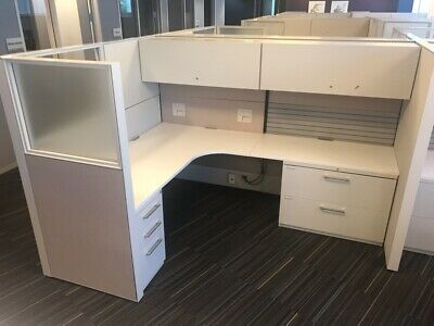 Nice Fully Loaded Haworth 6'X8' Office Cubicles Workstations -Glass!