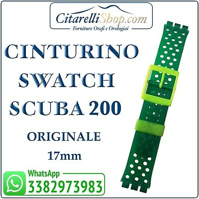 CINTURINO SWATCH SCUBA 200 ORIGINALE 17mm IN GOMMA VERDE FIBIA YELLOW FLUORESCEN