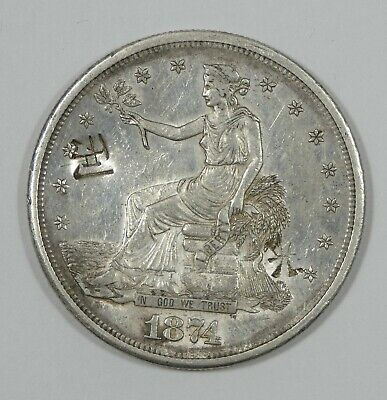 1874-S Trade Dollar ALMOST UNCIRCULATED Silver Dollar with Chopmarks