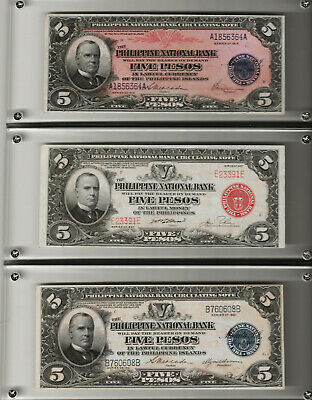 Lot of 3 -$5, Pesos,1916,1921, 1937, 1- Red Seal,2- Blue seal- McKINLEY RARE