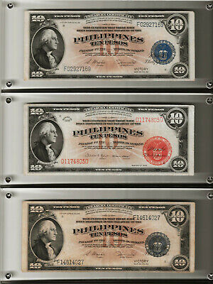 Lot of 3 -$10, Pesos,1936, Georg Washington, Red Seal,1944 blue seal- RARE
