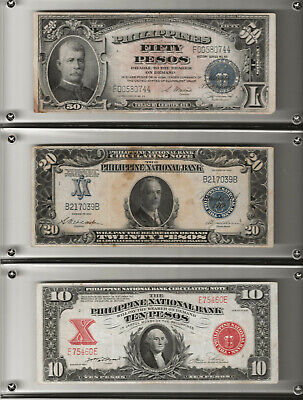 Lot of 3 -$50, Pesos,1944, $20,1921,  $10,1944-  Choice