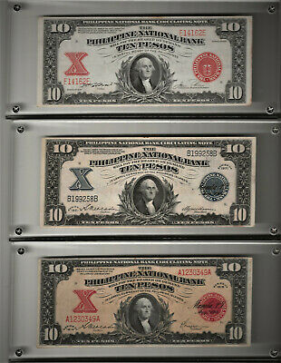 Lot of 3 -10 Pesos, 1916,1921,1937, 2 w/ red seal-1 with a blue seal Choice XF