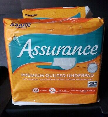 Equate Assurance Maximum Absorbency Premium Quilted Underpad XL 20 ct - (2 Pack)