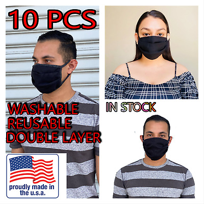10 PACK Face Mask Black Washable Reusable Unisex Double Layer Face Cover