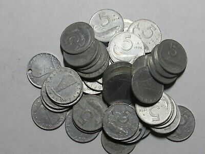 Lot of 50 Old Italy 1954 5 Lire Coins - Circulated