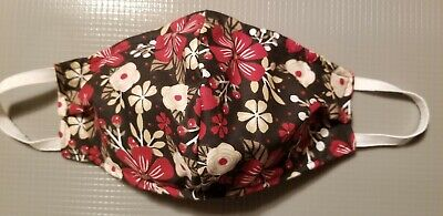 Fabric flower womans  face mask filter pocket reusable non medical handmade