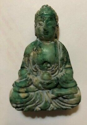 Chinese OLD GREEN Jade Buddha DESK  STATUE PAPERWEIGHT  Pendant B
