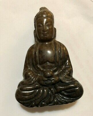 Chinese RARE BROWN Jade Buddha DESK  STATUE PAPERWEIGHT  Pend