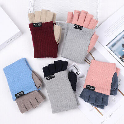 Warm Women Men Candy Color Knitted Gloves Short Thick Warm Half Finger Mittens