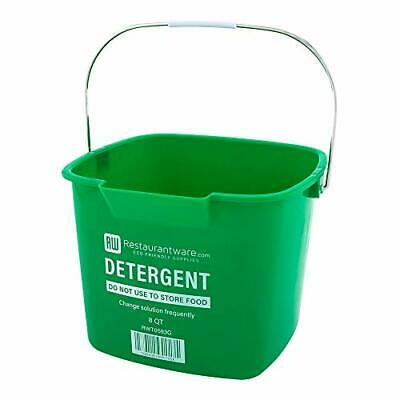 RW Clean 8 Qt Square Green Plastic Cleaning Bucket - with (8 qt|Green)