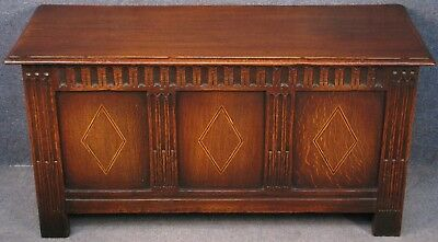 Jacobean Style Inlaid Carved Solid Oak Coffer Or Blanket Box