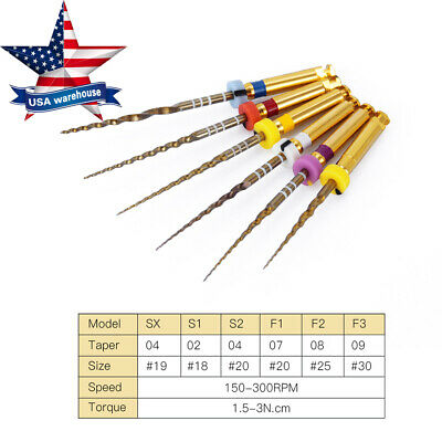 6pcs Dental Endodontic Gold Taper NITI Rotary Files Engine Use 25mm