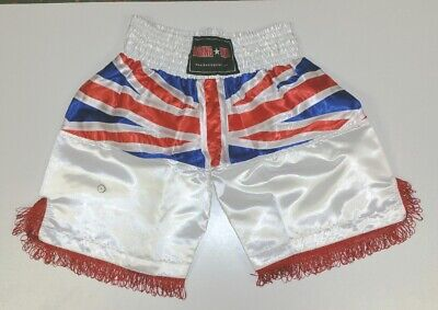 Boxing shorts polyester satin with union jack flag to clear with light Red shade