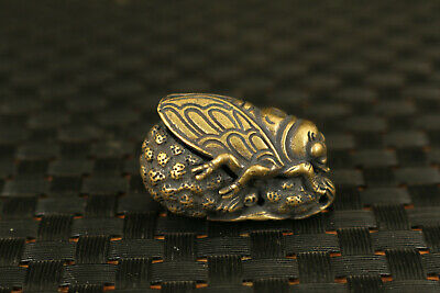 Chinese bronze Hand carving cicada statue collect decoration pendant Art gift