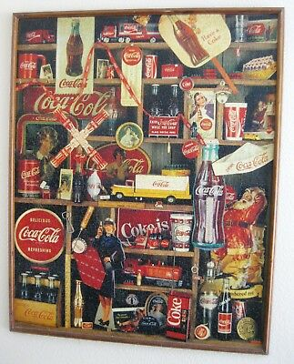 "HUGE 36"" x 44"" vintage FRAMED 2000-pc COCA COLA PUZZLE ready for display ~ WOW!"