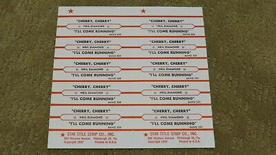 Neil Diamond  * Cherry Cherry *  10 jukebox title strips - full sheet