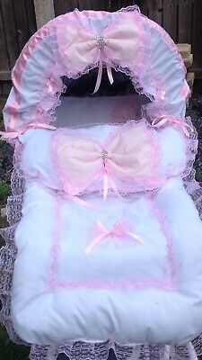 White and pink pram  cover set With matching Hood Trim Matching Bow