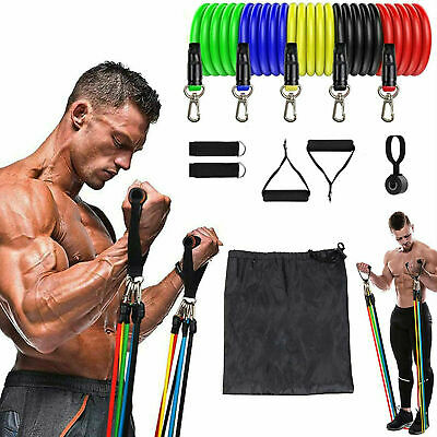 ✅11 PCS Resistance Bands Set Strength Training Exercise Fitness Tube Workout Gym