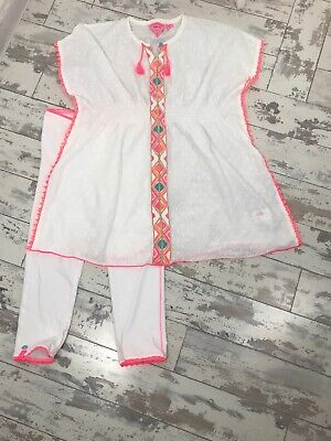 Mim-pi Girls Leggings Tunic Summer White Embroidered Outfit Age 8-9 Years