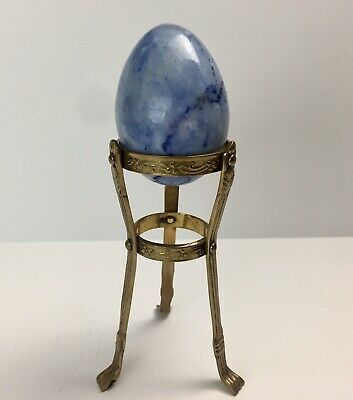 """3"""" Blue Alabaster Marble Stone Egg With Brass Stand"""