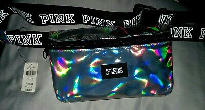 Victoria's Secret Pink Iridescent Holographic Silver Logo Waist Fanny Pack New