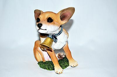 "Chihuahua Living Stone Dog Figurine 5"" H Puppy with Bell Brown Statue Resin New"