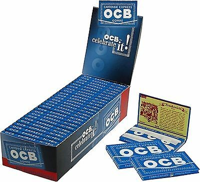 50 OCB Blu Elastico Smoking Documenti Cartine Sigarette Depliant Originale 804