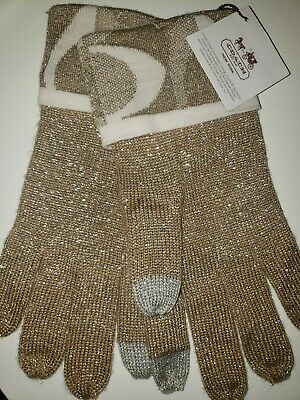 NWT CoaCH GoLD SiLVeR KNiT LoGo CuFF GLoVeS SPaRKLy MeTaLLiC ONe SiZe SiGNaTuRe