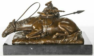 Russian Bronze - WW1 Cavalry Soldier with Rifle & Horse - Signed after Lanceray