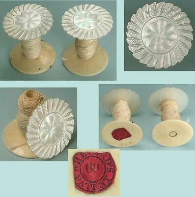 2 Antique Mother of Pearl Workbox Spools / Reels * English * Circa 1850