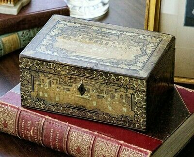 Antique Chinese Lacquer Antique Export Tea Caddy Chinoiserie Box