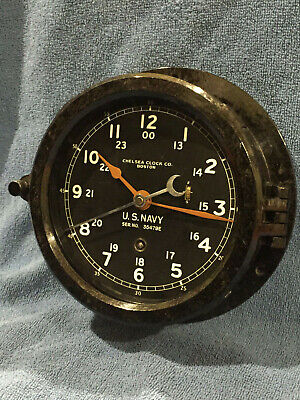 ** Fully Restored** WWII US NAVY 12/24hr. Chelsea Ship Clock Serial No. 591644