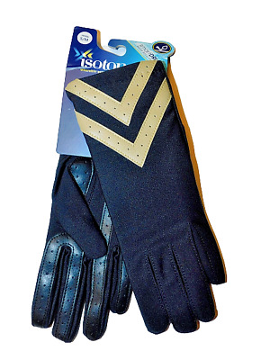 ISOTONER Women's Spandex Gloves with Leather Palm Strips Smartdri Black/ Tan NWT