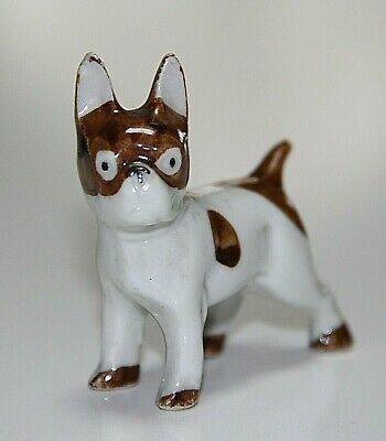 Vintage Buster Brown Style French Bulldog Porcelain Figurine Germany, Comical