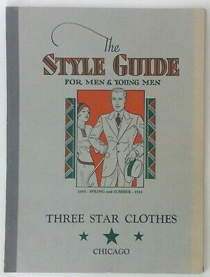 Vintage 1933 Three Star Clothes Men's Style Guide Catalog Spring / Summer