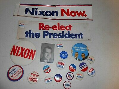 Lot of Vintage Nixon Election Buttons and Bumper Stickers