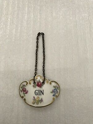 Antique Bone GIN China Scotch Decanter Label Liquor Bottle Tag Porcelain England