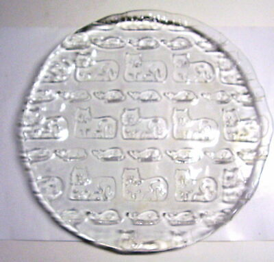 """Large 13"""" 3D Embossed Clear Glass Cat & Mouse Image Plate Excellent Condition"""