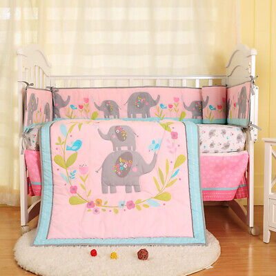 New Baby Girl 8 Pieces Cotton Nursery Bedding Crib Cot Sets