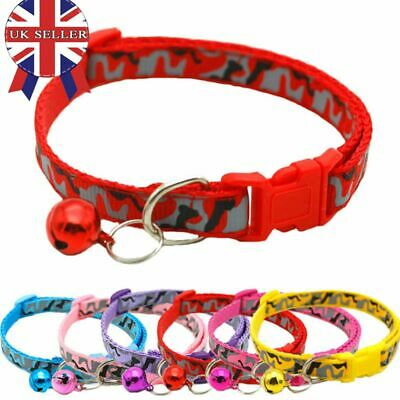 CAMOUFLAGE Kitten Small Cat Pet Collar with Buckle & Warning Bell UK SELLER