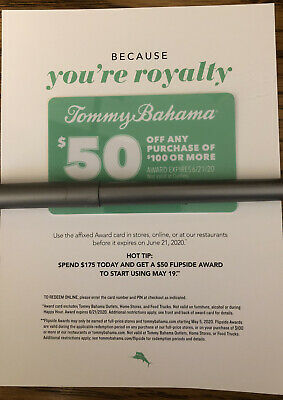 Tommy Bahama Coupon Gift Card $50 off $100 Or More Expires 6/21/20