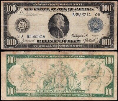 Circulated 1914 $100 New York Federal Reserve Note! FREE SHIPPING! B358321A