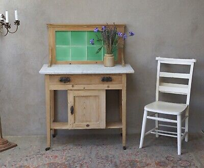 Old Pine Antique Sideboard Washstand Cupboard Marble Tiled - Delivery Avail...