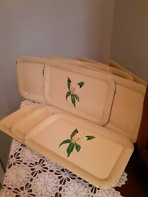Vintage metal serving trays Set Of 9 With Carrying Case
