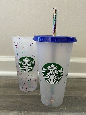 2020 Summer Starbucks Confetti Color Changing Cup with Colorful Straw and Lid