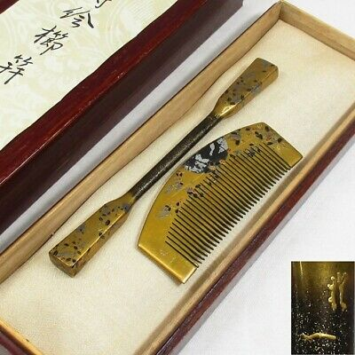 A210: Highest class Japanese lacquer ware ornamental hairpin and comb with MAKIE