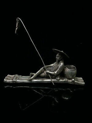 Decoration Rare Miao Silver Carving Jiang Taigong Goes Fishing Atmosphere Statue
